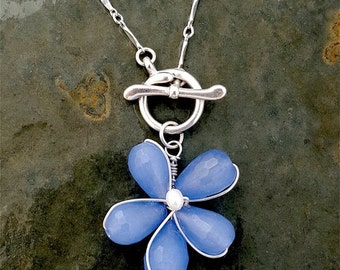 Blue Chalcedony Flower, Plumeria,  Toggle Necklace, Sterling Silver