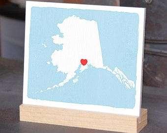"""ALASKA - Handmade and painted Desk display - Office decor - 6""""x 6"""" Bookshelf display, Going Away gift for Family and Best friends BFF gift"""