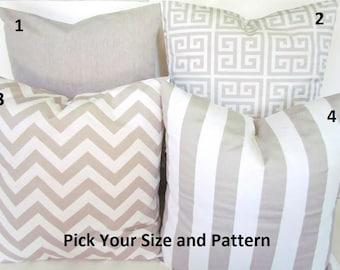 TAN PILLOWS TAN Pillow Cover Tan Throw Pillows greek key Taupe Pillow Covers Home Decor 14x14 16x16 say it with pillows