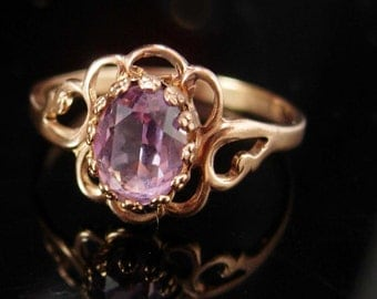 Vintage amethyst ring Rose gold plate size 9 1/2 marked beta February birthstone Ring birthday ring aquarius