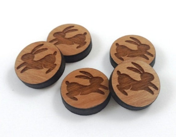 Laser Cut Supplies-8 Pieces.Rabbit Charms - Laser Cut Wood -Earring Supplies- Little Laser Lab Sustainable Wood Products