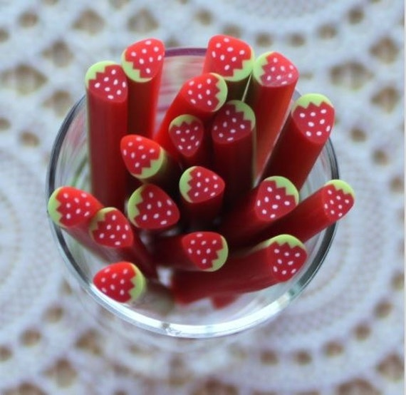1 Piece. 5mm Red Strawberry Polymer Clay Cane. Craft Supplies. Jewellery Supplies
