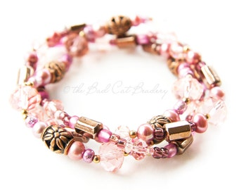 Boho Stretch Stack Bracelets in Pink Gold, Pink, Berry, Plum, Fuschia, Copper, and Brown Bronze