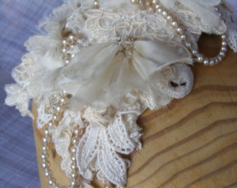 Coffee toned lace pearls and crystal millinery headpiece fascinator