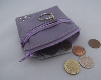 Lilac Leather Coin Purse.