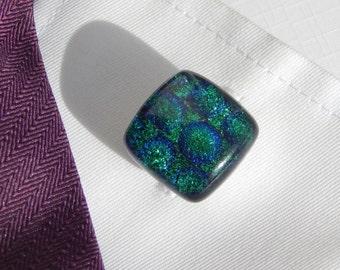 Smart Emerald Green Cufflinks - Fused Glass Men's Jewelry - Green and Blue Dichroic Glass Mens Knurled T Bar Cufflinks