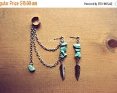 Valentines Sale Silver Exotic Dangling Feathers Ear Cuff Set with Delicate Turquoise Stones