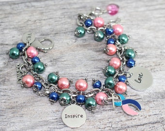 Thyroid Cancer Awareness Bracelet | Cancer Survivor Bracelet | Thyroid Cancer Jewelry | Thyroid Cancer Bracelet | Hashimoto's Awareness