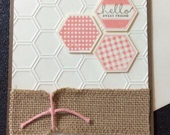 Friendship, Hello, Honeycomb, Burlap, Handmade, stampin up
