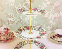 """Chintz 1930s """"Thousand Flowers""""  Three Tier cake Stand, Crown Staffordshire"""