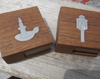 2 Vintage Dansk Teak Pewter Match book matchbook Covers Danish Denmark DANMARK Match stick Holder wooden
