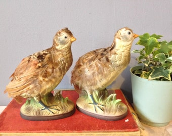 2 Quail Grouse LOVE Birds Doves Vintage  Ceramic Quails Set of 2 Figurines With Real Feathers Made in Japan