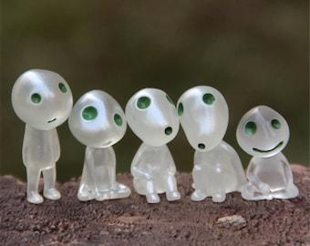 Hot Items!5pcs Luminous Tree Elves Toy Miyazaki Mononoke Elf Tree Landscape Mini Alien Small Dolls Terrarium Miniature Figurine Fairy Garden