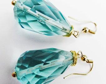 Crystal Earrings,  Aqua Earrings, Bridal Earrings, Bridal Jewelry, Teardrop Earrings, Quartz Glass Earrings, Crystal Earrings,