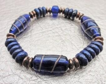 Lapis Blue Bracelet, Lapis Bead Bracelet, Cobalt Blue Bracelet, Lampwork Beads, Lapis and Copper Bracelet, Blue and Copper Bracelet