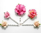 Various Pink Rose Floral Hair Clip Set/ Bridal/ Wedding Hair Accessories/ Bridesmaid Bobby Pin/ Wedding Flower Pins