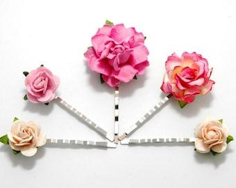 Pink Rose Hair Clips, Flower Clips, Wedding Flower Pins, Bridal hair pins, Bobby Pin Flowers, Floral Hair Bobbies