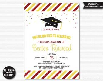 druckbare graduation einladung schwarz gold polka dots, Einladungen