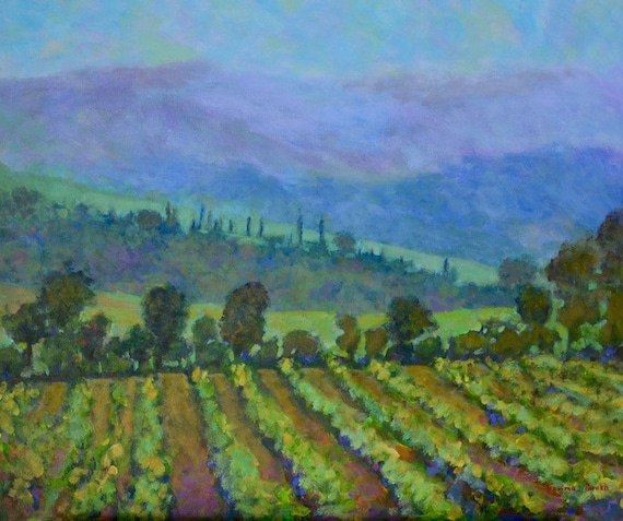 Tuscan vineyard landscape original painting| Large mountain| hills countryside |France| peaceful |fog mist original acrylic canvas | 20 X 24