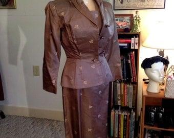 Vtg 50/60's Silk Wiggle Pin Up Dress w/Jacket/Hand Tailored/Custom Designed