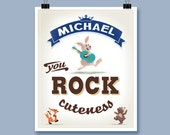 Rock Cuteness Kid's Art Print Personalized With Child's Name Boy's Room Decor Playroom Wall Art Decor Keepsake Gift For Young Boy