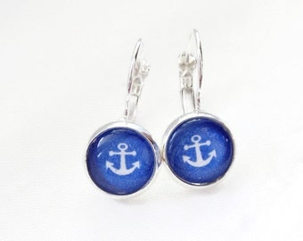 White anchors on blue background, cabochon earrings 10 mm, rug, minimalist, spring, nautical, marine motif