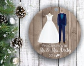 Christmas Ornaments Personalized First Christmas Ornament Married Christmas Ornaments Handmade First Christmas  as Mr and Mrs Ornament C145