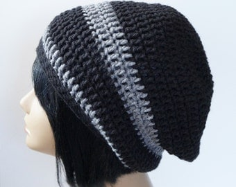 Black Striped Slouch Beanie