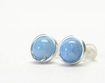 Genuine Aquamarine Stud Earrings - Handmade Wire Wrapped, Sterling Silver, Aqua Blue Gemstone Studs