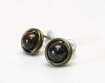 Dark Brown Natural Stone Stud Earrings - Niobium Wire Wrapped, Hypoallergenic Studs, Bronzite, Antique Brass