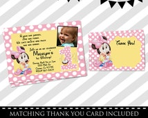 Baby Minnie Mouse Invitations - FREE Thank You Card