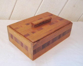 Inlayed wood box with lid, antique box, letter keepsake box, 1910 to 1920