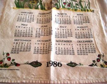 1986 calendar towel, kitchen towel, calendar towel, 1986 calendar, friendship poem