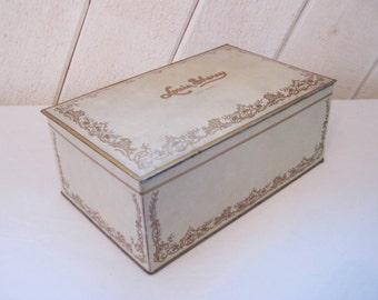 Vintage candy/ cookie tin, Louis Sherry New York tin, vintage advertising, letter keepsake box, hinged lid, primitive rustic decor