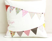 Custom Bunting Banner Memory Pillow Hand Embroidery Personalized Pillow Pennant Flag Banner Throw Pillow Keepsake Pillow Memorial Gift