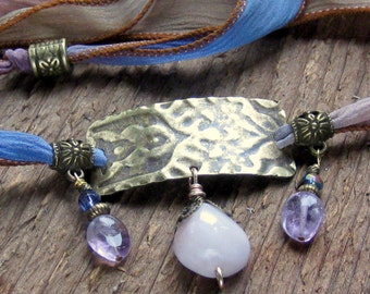 Hand Stamped - Hand Dyed Silk Ribbon Wrap Bracelet Pink Kunzite Amethyst