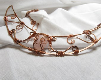 Copper Necklace Wire Wrapped Rose Quartz Crescent  One of A Kind Art Statement Jewelry