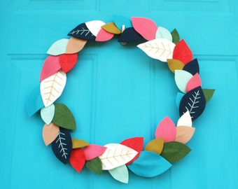 Colorful Felt Leaf Wreath - Bright Spring Wreath with Embroidered Leaves - Modern Wreath - Bohemian Decor