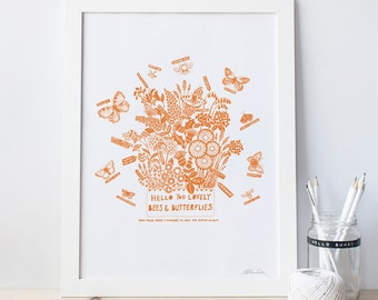 Modern botanical, bees and butterflies flora square or A3 print.