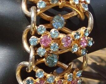 Sizzlin Summer Sale Unique Vintage Jewelry Rare Chunky Rhinestone Bracelet