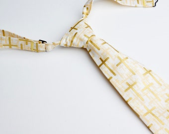 Ivory with Gold Cross Neck Tie With Adjustable Strap