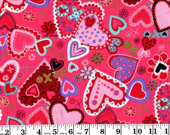 1 Yard, Hearts, X's and O's David Textiles Fabric
