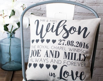 Personalised Wedding Pillow Cover