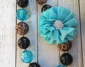Turquoise and Brown leopard print with chiffon flower chunky beaded necklace