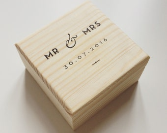 Personalised Wedding Ring Box Ring Bearer Engagement Ring Anniversary Wooden