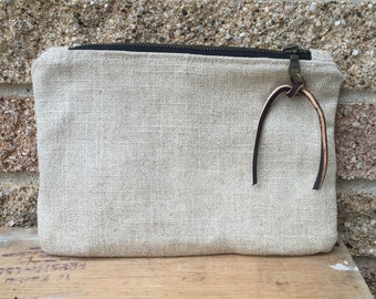 Tan Clutch / Small Handbag / Evening Bag - Made with 50% Re-Purposed Materials
