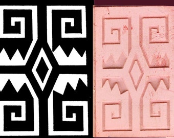 African Graphic Tribal Design - PMC Clay Stamp - Polymer Clay Stamp - Inca Ceramic Clay Design Stamp - Indian Tribal Design Stamping Tool