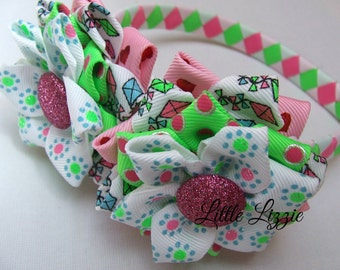 Neon bright flower headband set , girl gift, summer, interchangeable headband