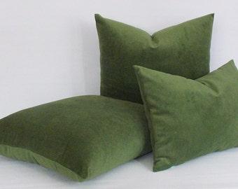 Velvet Cotton Green Pillow Cover, Decorative Pillow, Throw Green Pillow, Couch Velvet Pillows,Green Velvet All Sizes