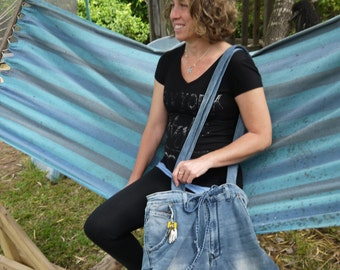 Back to school. Blue Jeans bag. Upcycled bag. denim tote recycled jeans bag. Large shoulder bag. Everyday bag.